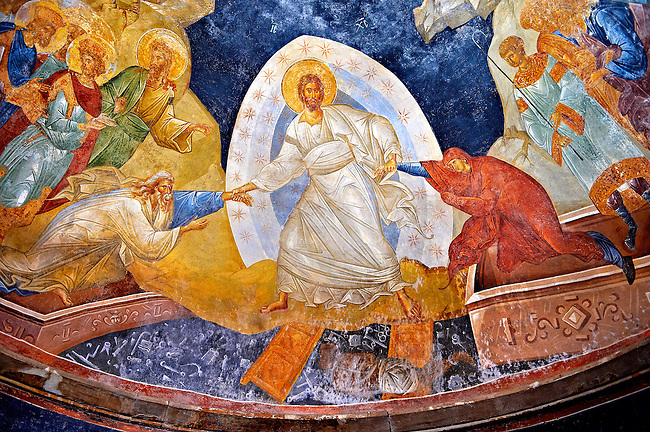 The 11th century Roman Byzantine Church of the Holy Saviour in Chora and its Anastasis fresco of the parecclesion chapel. Christ is depicted saving Adam and Eve by reurecting them from their sarcophagi. Endowed between 1315-1321 by the powerful Byzantine statesman and humanist  Theodore Metochites. Kariye Museum  Istanbul