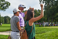 Justin Thomas' (USA) Dad, Mom, and girlfriend cheer from near the green on 18 after he won the 2019 BMW Championship, Medinah Golf Club, Chicago, Illinois, USA. 8/18/2019.<br /> Picture Ken Murray / Golffile.ie<br /> <br /> All photo usage must carry mandatory copyright credit (© Golffile | Ken Murray)