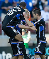Steven Lenhart of Earthquakes celebrates with teammates after scoring a goal during the game against LA Galaxy at Stanford Stadium in Palo Alto, California on June 30th, 2012.  San Jose Earthquakes defeated LA Galaxy, 4-3.