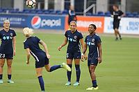 Edinburg, TX - Thursday September 28, 2017: Jaelene Hinkle, Taylor Smith during a regular season National Women's Soccer League (NWSL) match between the Houston Dash and the North Carolina Courage at H-E-B Park.