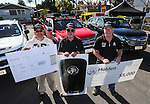 Prize winners R_L_ Mike Ford ($5000 donation to charity of choice), Frank Hanley (use of a Holden Colorado for a year) and Albert Au (trip for 4 to Colorado, USA, courtesy of American Airlines) during the Holden New Zealand Colorado Release Street Party, Volorado Place, Avondale, Auckland, New Zealand, Saturday 10th September 2016. Photo: Simon Watts/www.bwmedia.co.nz
