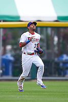 Buffalo Bisons outfielder Dalton Pompey (37) tracks a fly ball during a game against the Columbus Clippers on July 19, 2015 at Coca-Cola Field in Buffalo, New York.  Buffalo defeated Columbus 4-3 in twelve innings.  (Mike Janes/Four Seam Images)