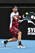 11th January 2018, Sydney Olympic Park Tennis Centre, Sydney, Australia; Sydney International Tennis,quarter final; Fabio Fognini (ITA) hits a backhand return in his match against Adrian Mannarino (ITA)