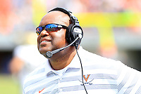 Virginia head coach Mike London during the game in Charlottesville, VA. Virginia lost to UCLA 28-20. Photo/Andrew Shurtleff