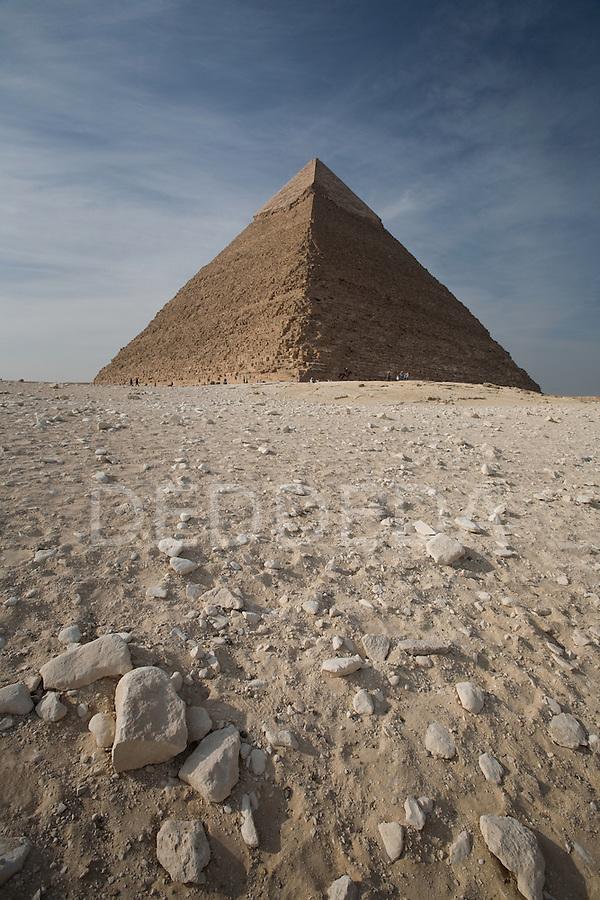 The Pyramids of Giza near Cairo, Egypt.