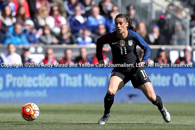 10 April 2016: Ali Krieger (USA). The United States Women's National Team played the Colombia Women's National Team at Talen Energy Stadium in Chester, Pennsylvania in an women's international friendly soccer game. The U.S. won the match 3-0.