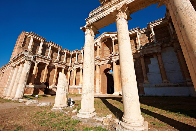 The Bath Gymnasium complex of Sardis, a typical example of the colonnaded palaestra front of a Hellenistic 1st cent. AD Greco Roman baths of the western & southern region of Anatolia. Sardis archaeological site, Hermus valley, Turkey. A Harvard Art Museum excavation project.