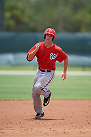 GCL Nationals first baseman Jackson Cramer (25) running the bases during the second game of a doubleheader against the GCL Marlins on July 23, 2017 at Roger Dean Stadium Complex in Jupiter, Florida.  GCL Nationals defeated the GCL Marlins 1-0.  (Mike Janes/Four Seam Images)