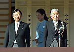 January 2, 2014, Tokyo, Japan - Princess Masako walks behind Emperor Akihito, right, and her husband, Crown Prince Naruhito, during a New Year's general audience at the Imperial Palace in Tokyo on Thursday, January 2, 2014. More than 80,000 well-wishers turned out to celebrate the coming of the new year with the imprerial family who made five appearances on the palace balcony. (Photo by Natsuki Sakai/AFLO) AYF -mis-