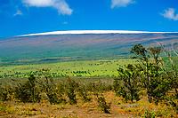 Mauna Loa volcanic mountain with snow on summit, Hawaii, USA Volcanoes National Park, Kilauea, Big Island, Hawaii, USA