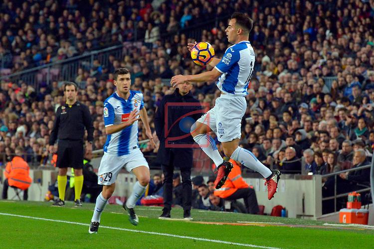 League Santander 2016/2017. Game: 16.<br /> FC Barcelona vs RCD Espanyol: 4-1.<br /> Aaron Martin &amp; Jose Manuel Jurado.