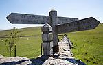 Pennine Way long distance footpath signpost, Yorkshire Dales national park, England, UK