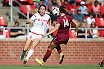 15 October 2016: NC State's Kristina Schuster (GER) (3) and Florida State's Natalia Kuikka (FIN) (14). The North Carolina State University Wolfpack hosted the Florida State University Seminoles at Dail Soccer Field in Raleigh, North Carolina in a 2016 NCAA Division I Women's Soccer match. FSU won the game 1-0.