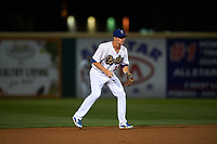 Rancho Cucamonga Quakes shortstop Gavin Lux (14) during a California League game against the Lake Elsinore Storm at LoanMart Field on May 19, 2018 in Rancho Cucamonga, California. Lake Elsinore defeated Rancho Cucamonga 10-7. (Zachary Lucy/Four Seam Images)