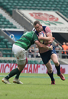 Twickenham, Lancashire, 27th May 2018. Bill Beaumont Division 1 Final, Chris WEST, L tackles, Chris JOHNSON, during the Lancashire vs Hertfordshire,    RFU. Stadium, Twickenham. UK.  <br /> <br /> &copy; Peter Spurrier/Alamy Live News