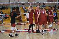 STANFORD, CA - December 30, 2017: Evan Enriques, Eric Beatty, Stephen Moye, Leo Henken, Jaylen Jasper at Burnham Pavilion. The Stanford Cardinal defeated the Calgary Dinos 3-1.