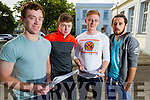 Leaving certificate students Gaelcolaiste Chiarrai, Tralee, who got their results on Wednesday, from left: Gael Darragh O'Caoimh Cealliagh, Moyvane, Gearoid Ó Gealbhain, Listowel, Cian O Cuirc, Tralee and Jordan DeBarra, Listowel