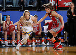 BROOKINGS, SD - FEBRUARY 4:  Madison Guebert #11 from South Dakota State drives past Bridget Arens #22 from the University of South Dakota during their game Saturday afternoon at Frost Arena in Brookings. (Photo by Dave Eggen/Inertia)