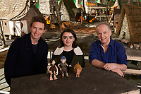 Early Man (2018) <br /> Eddie Redmayne, Maisie Williams and Director Nick Park on the set of<br /> *Filmstill - Editorial Use Only*<br /> CAP/KFS<br /> Image supplied by Capital Pictures