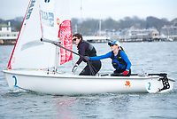 Crew Emma Sexton,'20, and Skipper Jen Killian,'19, work together as the Salve Regina Sailing Team in Newport Habor.