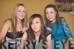 FASHION MODELS: Member's of the Ballymac youth club who took to the catwalk in aid of the Ballymac Community Alert Group at St Brendan's community hall on Friday l-r: Laura O'Shea, Niamh O'Connor and Laura Moynihan.