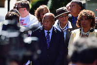 Washington, DC - September 22, 2016: Rep. John Lewis stands with members of the Congressional Black Caucus during a news conference in front of the Department of Justice headquarters in the District of Columbia, September 22, 2016, to address the shooting and profiling of African Americans by law enforcement members. The CBC presented Attorney General Lynch with a letter outlining its concerns.  (Photo by Ryan Ketterling/Media Images International)