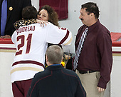 Jane Gaudreau, Matthew Gaudreau (BC - 21), Guy Gaudreau - The visiting University of Vermont Catamounts tied the Boston College Eagles 2-2 on Saturday, February 18, 2017, Boston College's senior night at Kelley Rink in Conte Forum in Chestnut Hill, Massachusetts.Vermont and BC tied 2-2 on Saturday, February 18, 2017, Boston College's senior night at Kelley Rink in Conte Forum in Chestnut Hill, Massachusetts.