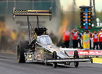 Mar 13, 2015; Gainesville, FL, USA; NHRA top fuel driver Tony Schumacher during qualifying for the Gatornationals at Auto Plus Raceway at Gainesville. Mandatory Credit: Mark J. Rebilas-