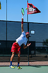 SURPRISE, AZ - MAY 12: Vivien Versier of the Barry Buccaneers serves a ball against the Barry Buccaneers during the Division II Men's Tennis Championship held at the Surprise Tennis & Racquet Club on May 12, 2018 in Surprise, Arizona. (Photo by Jack Dempsey/NCAA Photos via Getty Images)