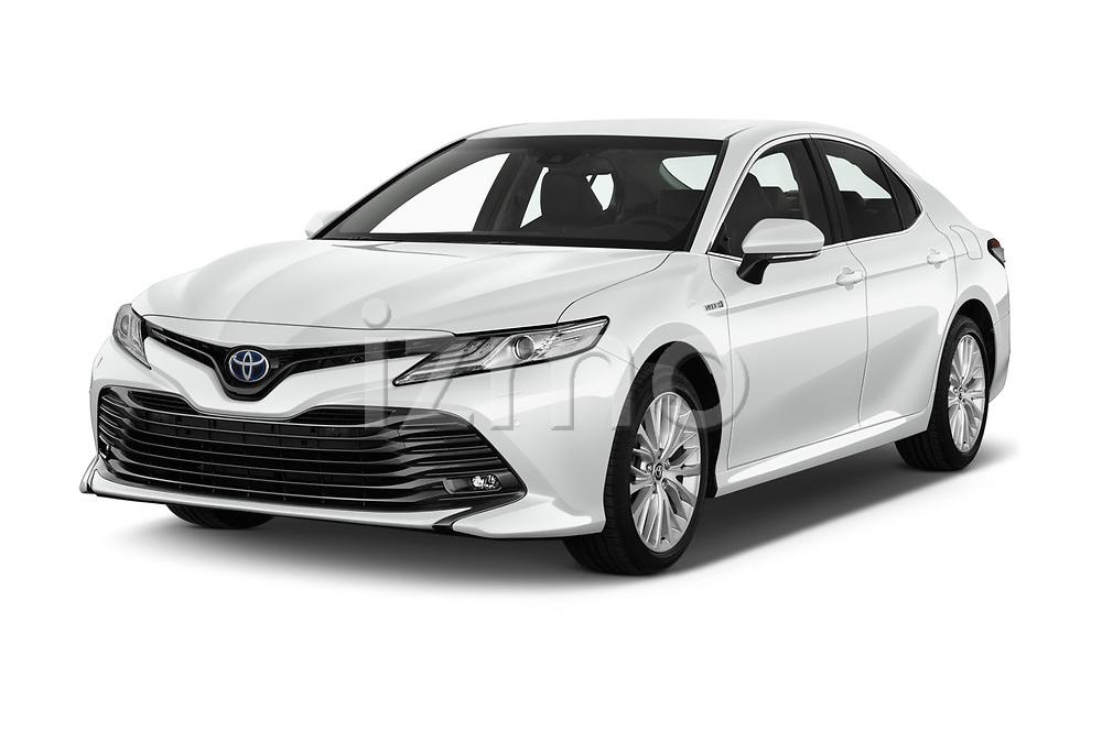 2019 Toyota Camry Premium 4 Door Sedan angular front stock photos of front three quarter view