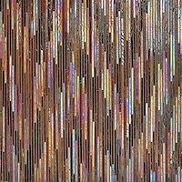Pamir, a hand-cut jewel glass mosaic, shown in Carnelian and Tortoise Shell, is part of the Ikat Collection by Sara Baldwin for New Ravenna Mosaics.<br />