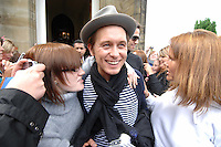Mark Owen  makes his way through fans after staying at Glasgow's Mar Hall...