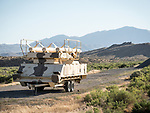 Military trailer left along US 50 near Eastgate, Nevada