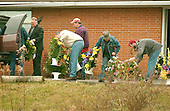 Buckhannon, WVa - January 8, 2006 -- Pall bearers help carry flowers from the funeral of Jesse L. Jones, 44, in Buckhannon, West Virginia on January 8, 2006.   Mr. Jones perished in the Sago Mine explosion on January 2, 2006..Credit: Ron Sachs / CNP