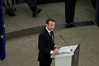 French President Emmanuel Macron holds a speech during the European obsequies for late former chancellor Helmut Kohl at the European Parliament in Strasbourg, France, 1 July 2017. Kohl died on 16 June 2017 in the age of 87. The chancellor of the German unity held office for 16 years<br /> Foto Elyxandro Cegarra / Panoramic / Insidefoto <br /> ITALY ONLY