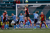 Rochester, NY - Saturday May 21, 2016: Western New York Flash midfielder Samantha Mewis (5) goes up for a header. The Western New York Flash defeated Sky Blue FC 5-2 during a regular season National Women's Soccer League (NWSL) match at Sahlen's Stadium.