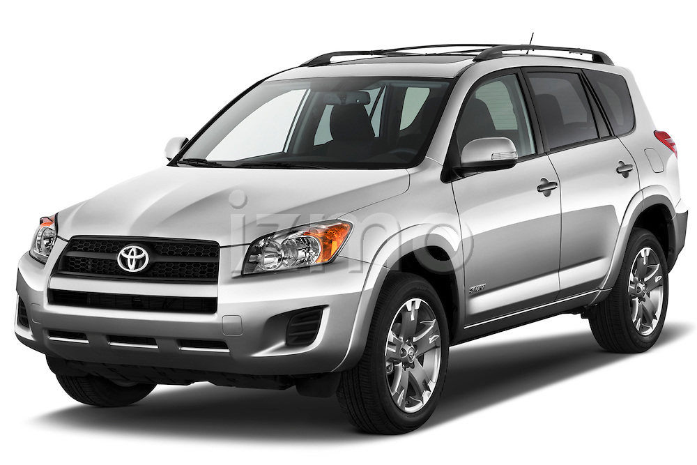 Front three quarter view of a 2012 Toyota Rav4 Sport.