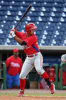 Philadelphia Phillies third baseman Harold Martinez #24 during an Instructional League game against the Toronto Blue Jays at Brighthouse Field on October 7, 2011 in Clearwater, Florida.  (Mike Janes/Four Seam Images)