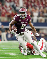 Hawgs Illustrated/Ben Goff<br /> Jhamon Ausbon, Texas A&M wide receiver, picks up yards in the the 2nd quarter vs Arkansas Saturday, Sept. 29, 2018, during the Southwest Classic at AT&T Stadium in Arlington, Texas.