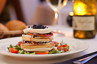 Tomato-Mozzarella Napoleon : sliced tomato, fresh basil, extra virgin olive oil, red wine vinegar, garlic, red onion, balsamic pearls, house-made fresh mozzarella, puff pastry Waterfront Bistro .Cruz Bay, St. John.U.S. Virgin Islands