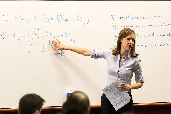 February 23, 2015. Durham, North Carolina.<br /> Professor Elisabeth deFontenay leads her Corporate Finance class on a class exercise on stock returns.<br />  The Duke University School of Law is considered one of the best law schools in the country.