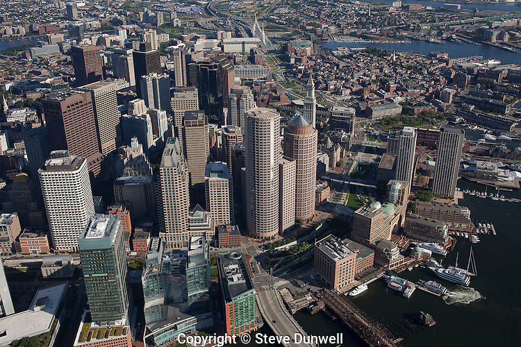 aerial view, downtown Boston, MA showing Rowes Wharf area & Greenway