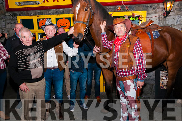 Country & Western Night: Pictured at the country & western night at the Railway Bar, Ballybunion on Sunday night last were John Galvin, John Dee & Mario Perez & Smithwick the horse.