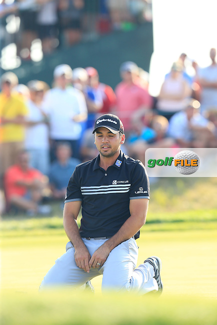 Jason DAY (AUS) misses his putt on the 15th green during Sunday's Final Round of the 97th US PGA Championship 2015 held at Whistling Straits, Mosel, Kohler, Wisconsin, United States of America. 16/08/2015.<br /> Picture Eoin Clarke, www.golffile.ie