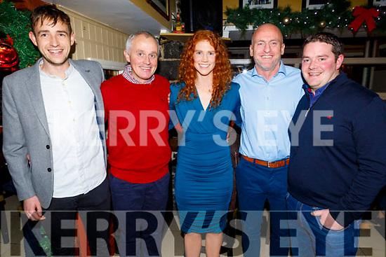 Staff of Mercy Mounthawk enjoying their Christmas party in the Brogue Inn on Friday.<br /> L to r: Luke Mulligan, Tadgh O'Sullivan, Louise Ní Mhuircheartaigh, Sean Flaherty and Denis O'Shea.