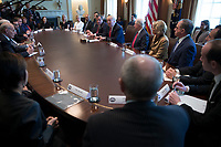 US President Donald J. Trump delivers remarks during an opioid and drug abuse listening session in the Roosevelt Room of the White House in Washington, DC, USA, 29 March 2017. Photo Credit: Shawn Thew/CNP/AdMedia