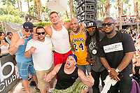 LAS VEGAS, NV - APRIL 29: Rob Gronkowski  and Mojo Rawley pose with Flo Rida and Flavor Flav at The Ragazzo in Las Vegas, Nevada on April 29, 2017. Credit: GDP Photos/MediaPunch