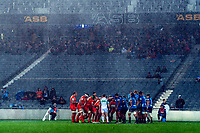 Heavy rain falls during the Super Rugby match between the Blues and Jaguares at Eden Park in Auckland, New Zealand on Friday, 28 April 2018. Photo: Dave Lintott / lintottphoto.co.nz