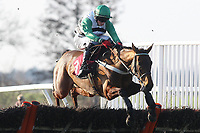 Race winner Lady Karabaya ridden by C O'Farrell jumps the last in the ladbrokespoker.com Handicap Hurdle