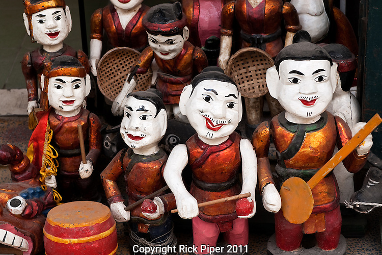 Water puppets for sale in a shop in Hang Trong St, Hanoi Old Quarter, Vietnam